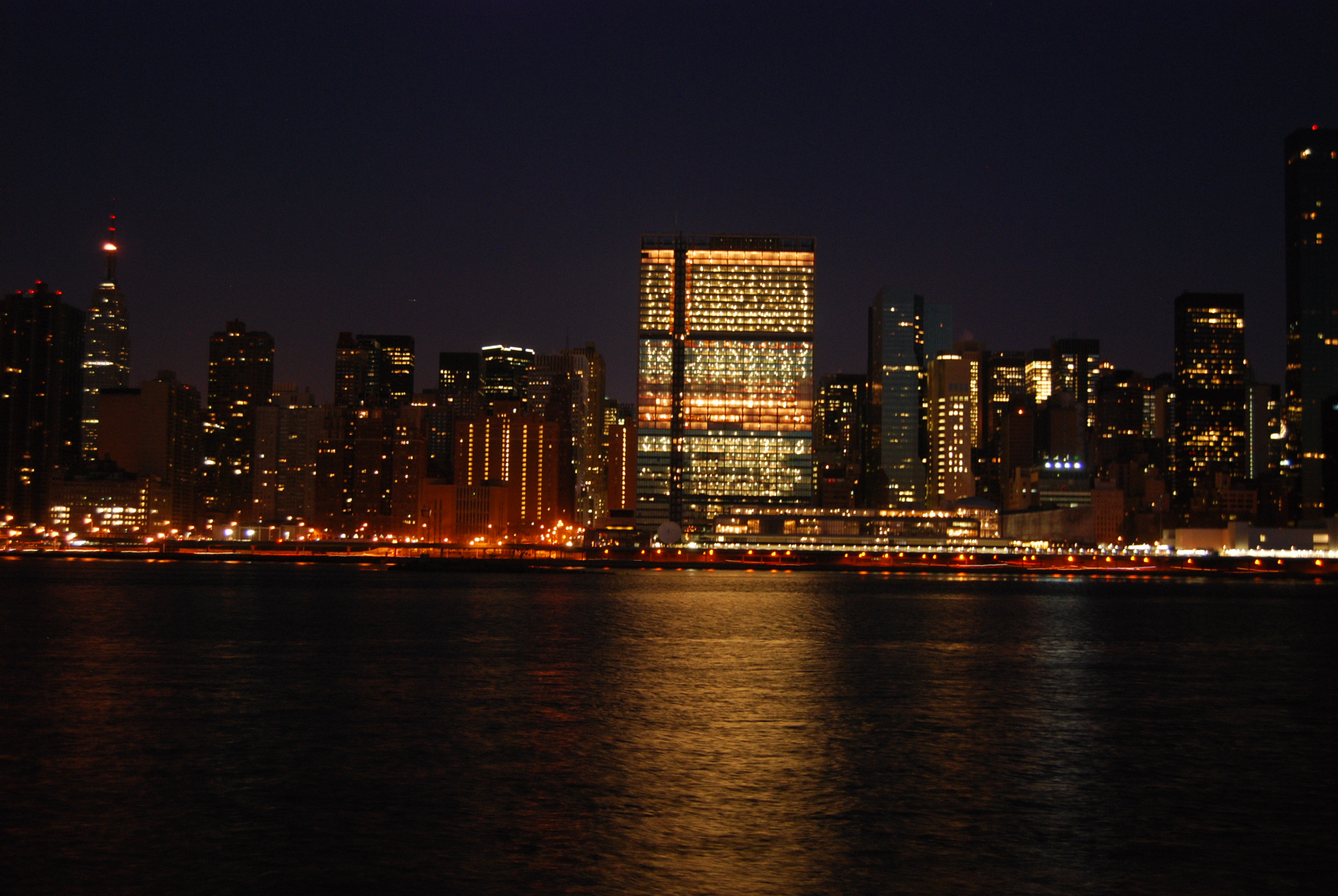 UN building at night